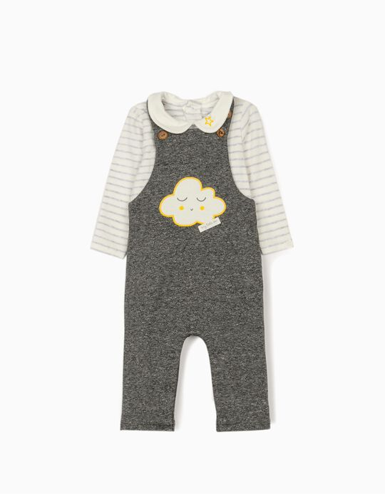 Jumpsuit and Bodysuit for Newborn Babies 'Cloud', Grey/White