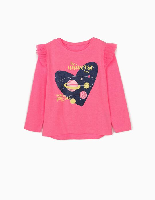 Long Sleeve Top with Ruffles for Girls, Pink