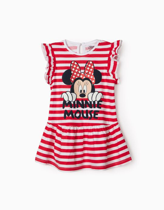 Striped Dress for Baby Girls, 'Minnie Mouse', Red/White