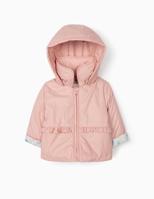 Hooded Parka for Newborn Babies, Pink