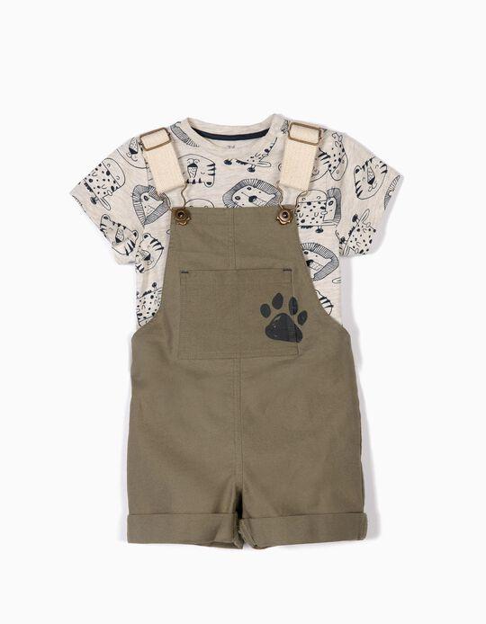 Peto y Camiseta para Bebé Niño 'Animals', Verde y Beige