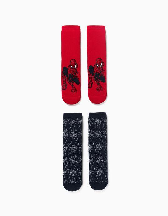 2 Meias Antiderrapantes para Menino 'Spider-Man', Vermelho/Azul Escuro