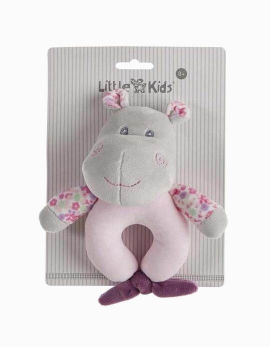 RATTLE 15CM HIPPO LITTLE KIDS PINK