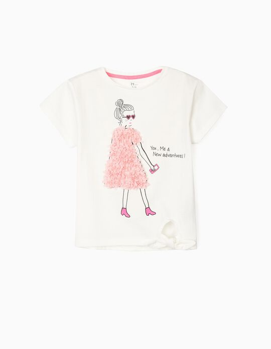 T-shirt with Knot on the Front, for Girls, 'New Adventures', White