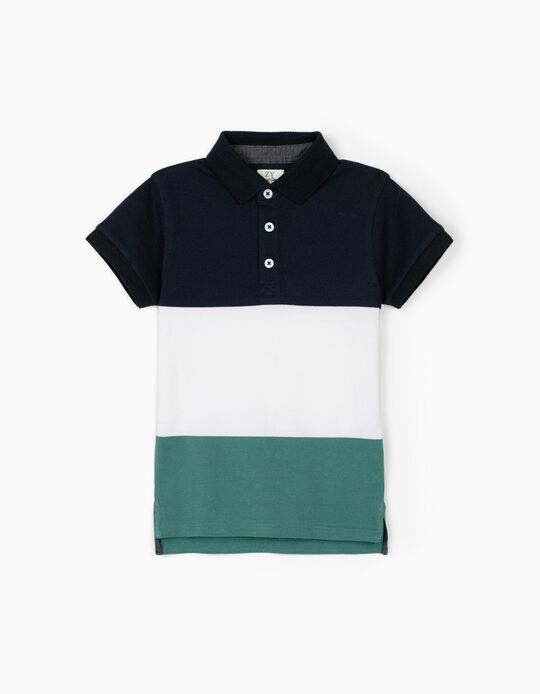 Short Sleeve Polo Shirt for Boys, Blue/White/Green