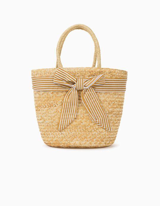 Straw Basket for Girls, Beige