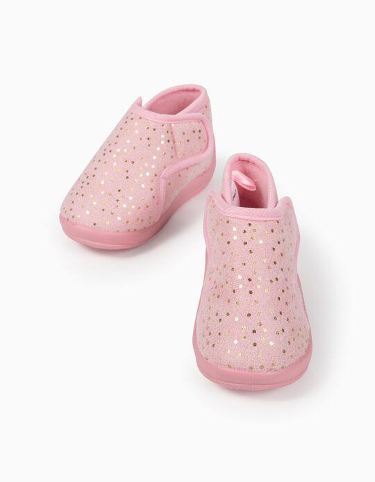 Chaussons bébé fille 'Dots', rose/doré