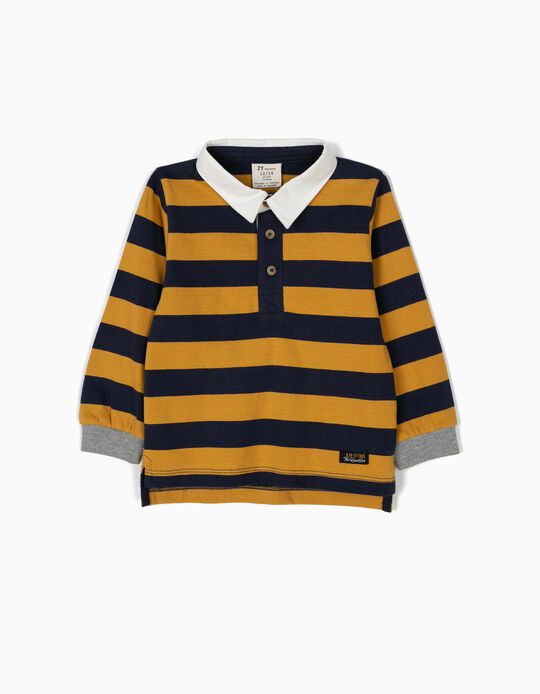 Polo Bebé Menino Riscas Azuis e Amarelas