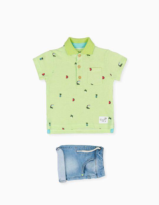 Polo e Calções para Bebé Menino LOSAN, Verde/Azul