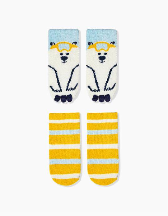 2 Pairs of Non-Slip Socks for Boys 'Ski Bear', Multicoloured