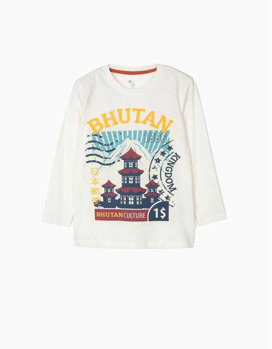 T-shirt Manga Comprida para Menino 'Bhutan', Branco