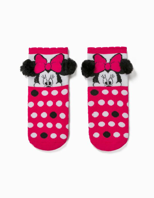 Non-slip Socks for Girls, 'Minnie Mouse', Pink/White