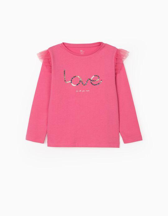 T-shirt Manga Comprida para Menina 'Love', Rosa
