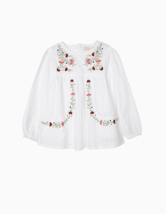 Blusa para Menina com Flores Bordadas, Branco