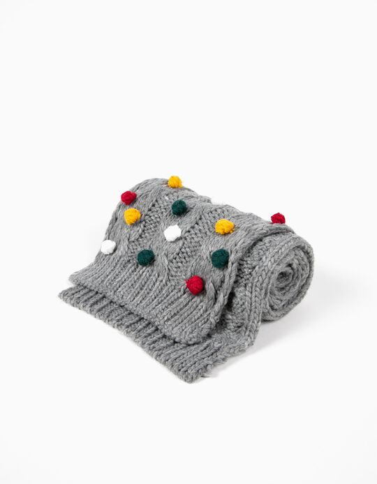 Grey Knitted Scarf with Pompons