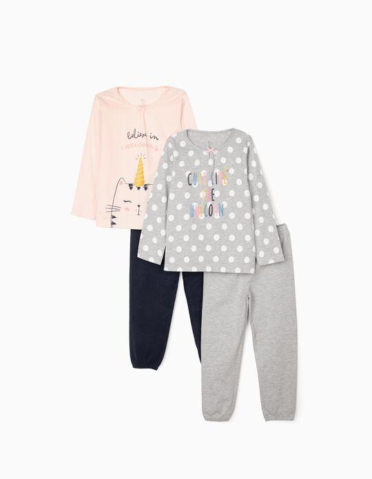 2 Pijamas para Menina 'Unicorns', Cinza/Rosa/Azul