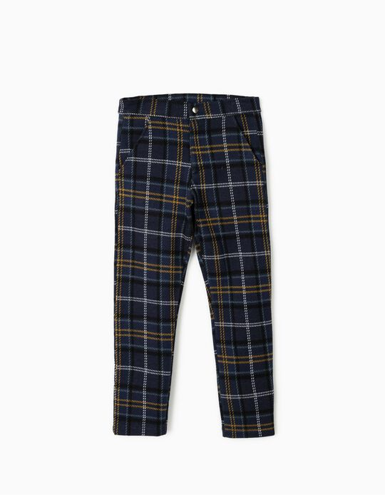 Chequered Trousers for Girls, Dark Blue