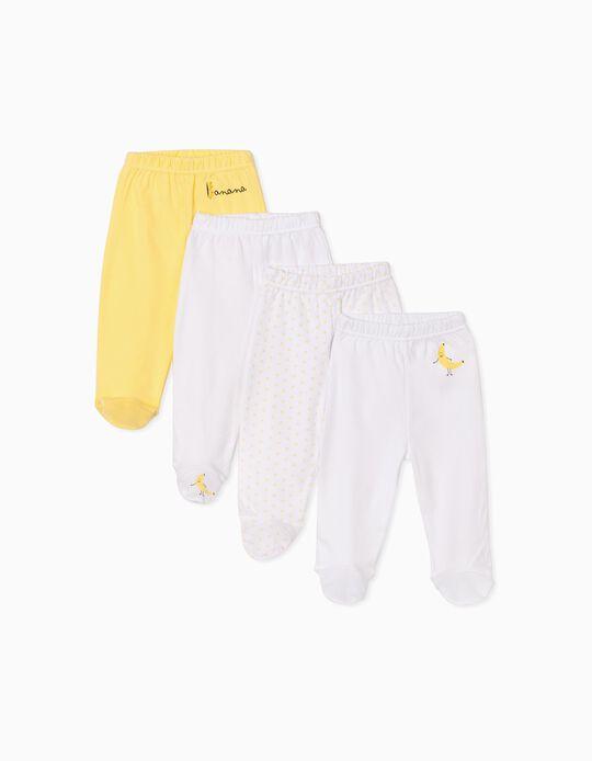 4 Pantalones con Pies para Bebé 'Banana', Blanco/Amarillo