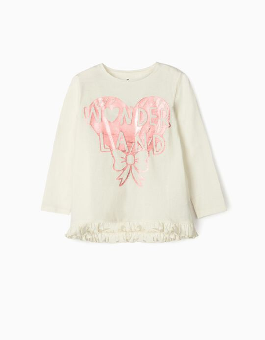Long Sleeve 'Wonderland' Top for Baby Girls, White