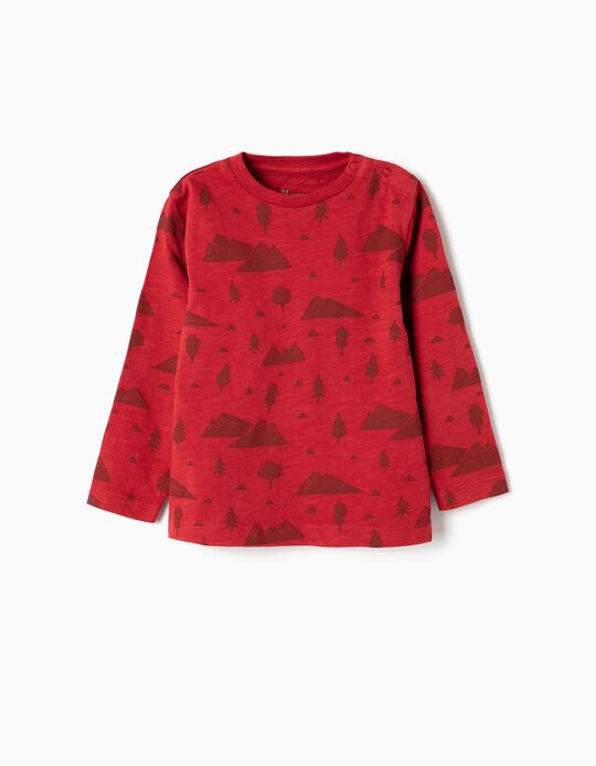 Camiseta de Manga Larga para Bebé Niño 'Mountains', Rojo