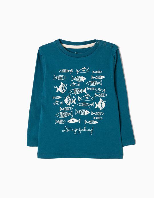 T-shirt Manga Comprida Fish Azul