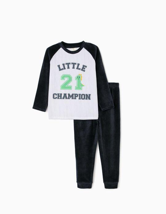 Velour Pyjamas for Boys, 'Little Champ', Dark Blue/White