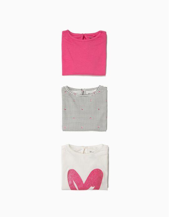 3 Camisetas de Manga Larga para Bebé Niña 'Love', Rosa