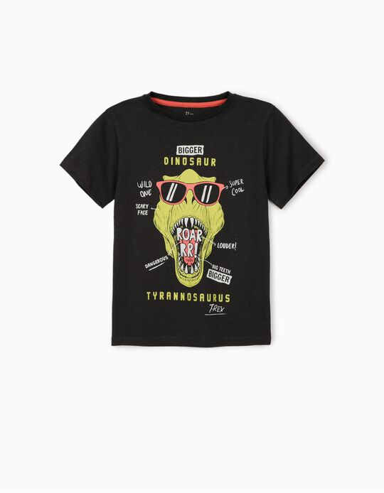 T-shirt para Menino 'Dinosaur', Cinza Escuro