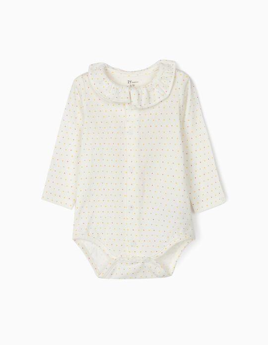 Bodysuit for Newborn Baby Girls 'Dots', White
