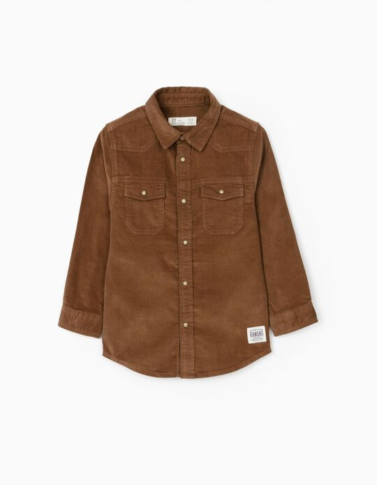 Corduroy Shirt for Boys, Brown