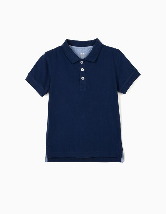 Piqué Knit Polo Shirt for Boys, Blue