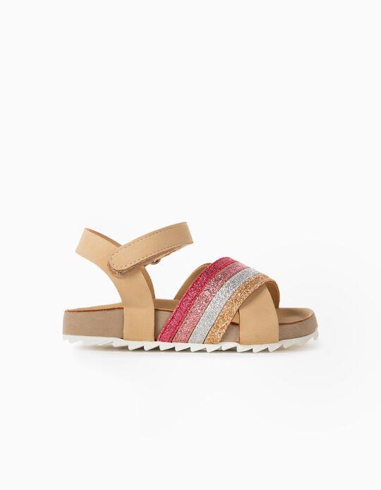 Sandals for Baby Girls, 'Glitter', Beige