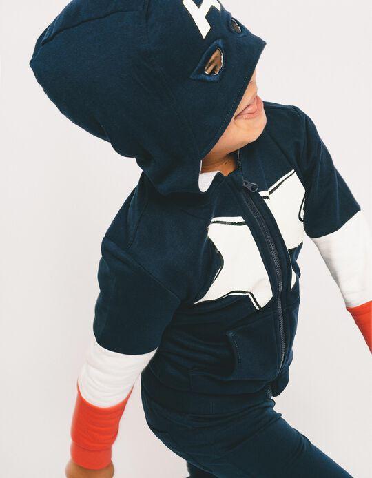 Chaqueta con Capucha-Mascara para Niño 'Capitán América', Azul Oscuro