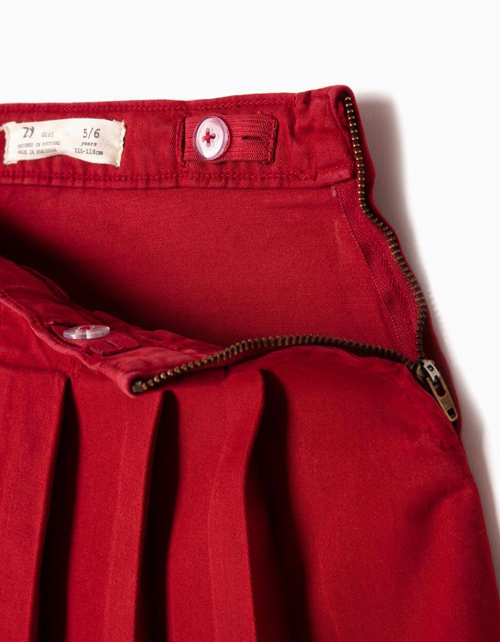 Falda de Pliegues Roja