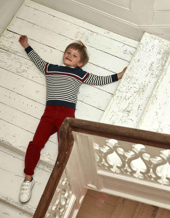 Pantalón de Sarga para Niño 'Regular Fit', Burdeos