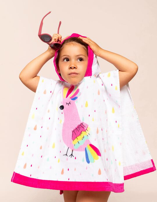 Beach Poncho for Girls, 'Bird', White/Pink