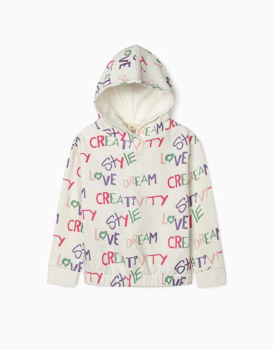 Hooded Sweatshirt for Girls, 'Creativity', White