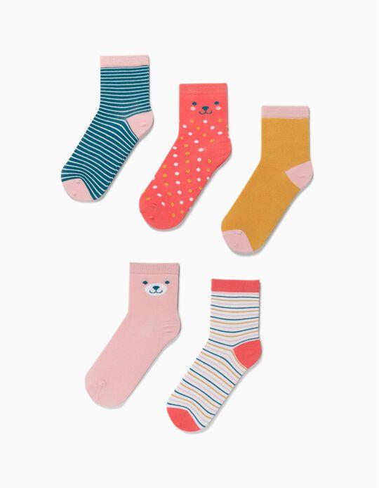5 Pares de Calcetines para Niña 'Dots & Stripes', Multicolor
