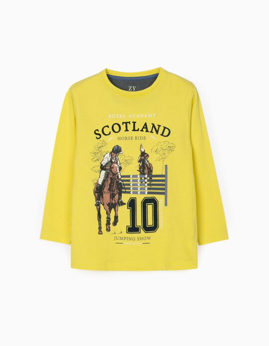 Long Sleeve T-Shirt for Boys 'Horse Ride', Yellow