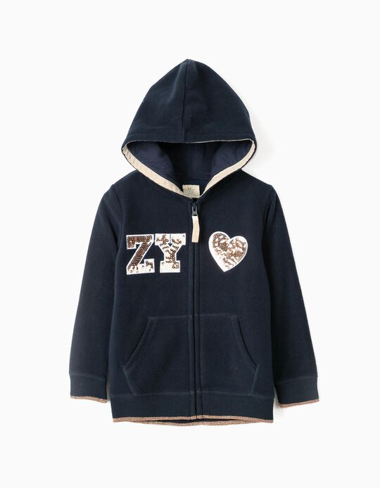 Casaco Polar com Capuz para Menina 'ZY', Azul Escuro