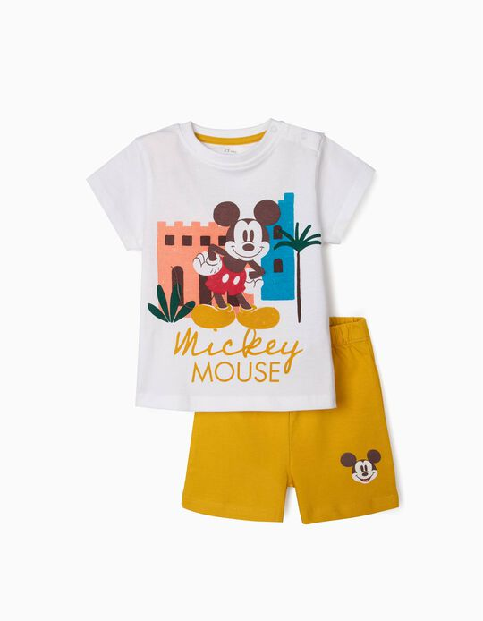 Pijama Algodón Orgánico para Bebé Niño 'Mickey', Blanco/Amarillo