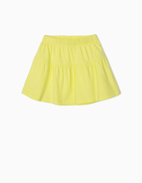 Falda de Punto para Niña, Amarillo Lima