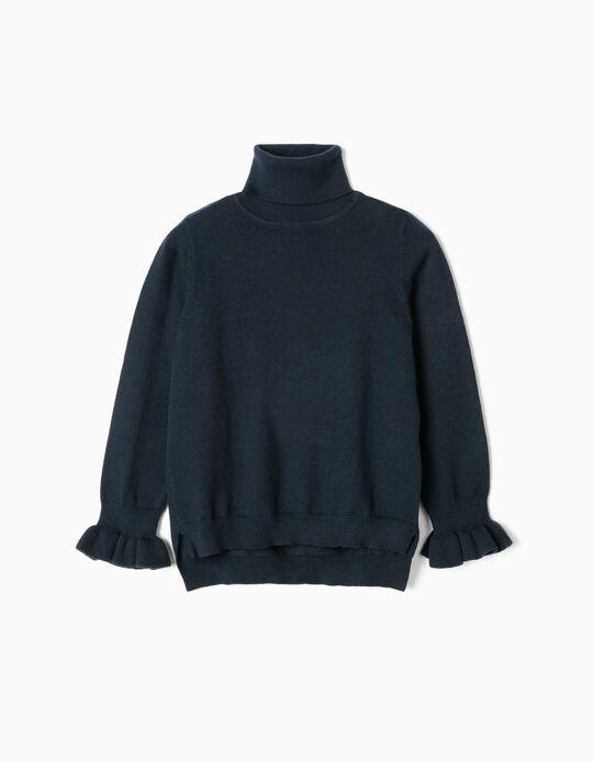 Jersey de Cuello Alto para Niña, Azul Oscuro