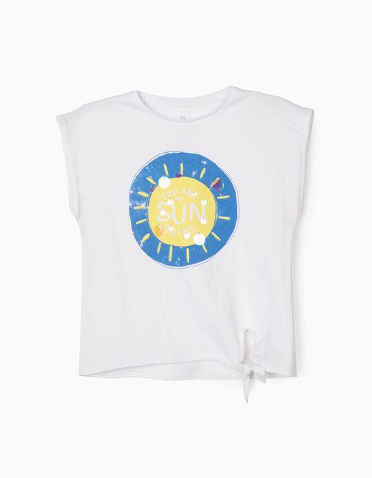 T-shirt for Girls, 'Sunshine', White
