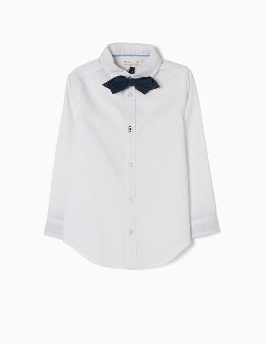 Camisa Branca com Laço Azul