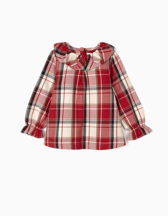 Blusa Xadrez para Bebé Menina 'B&S', Vermelho/Branco