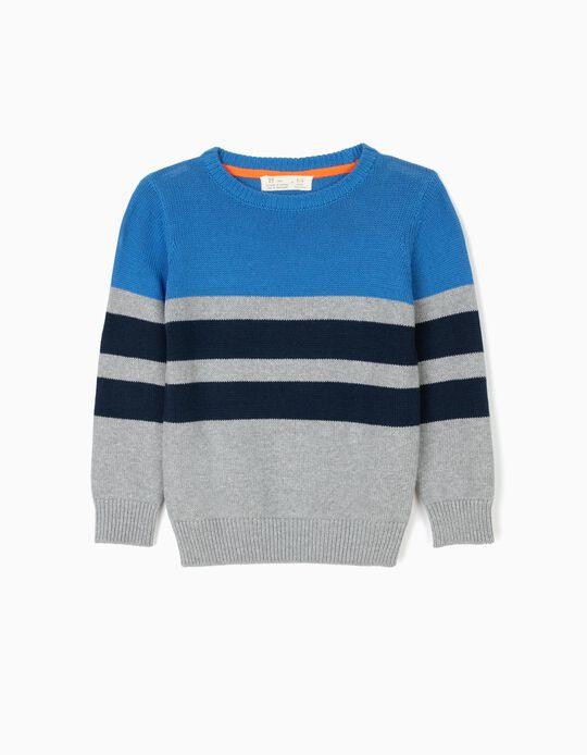 Camisola de Malha para Menino 'ZY 96' Riscas, Cinza e Azul