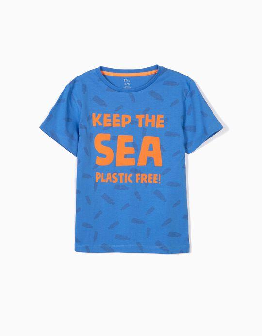 T-shirt para Menino 'Plastic Free', Azul