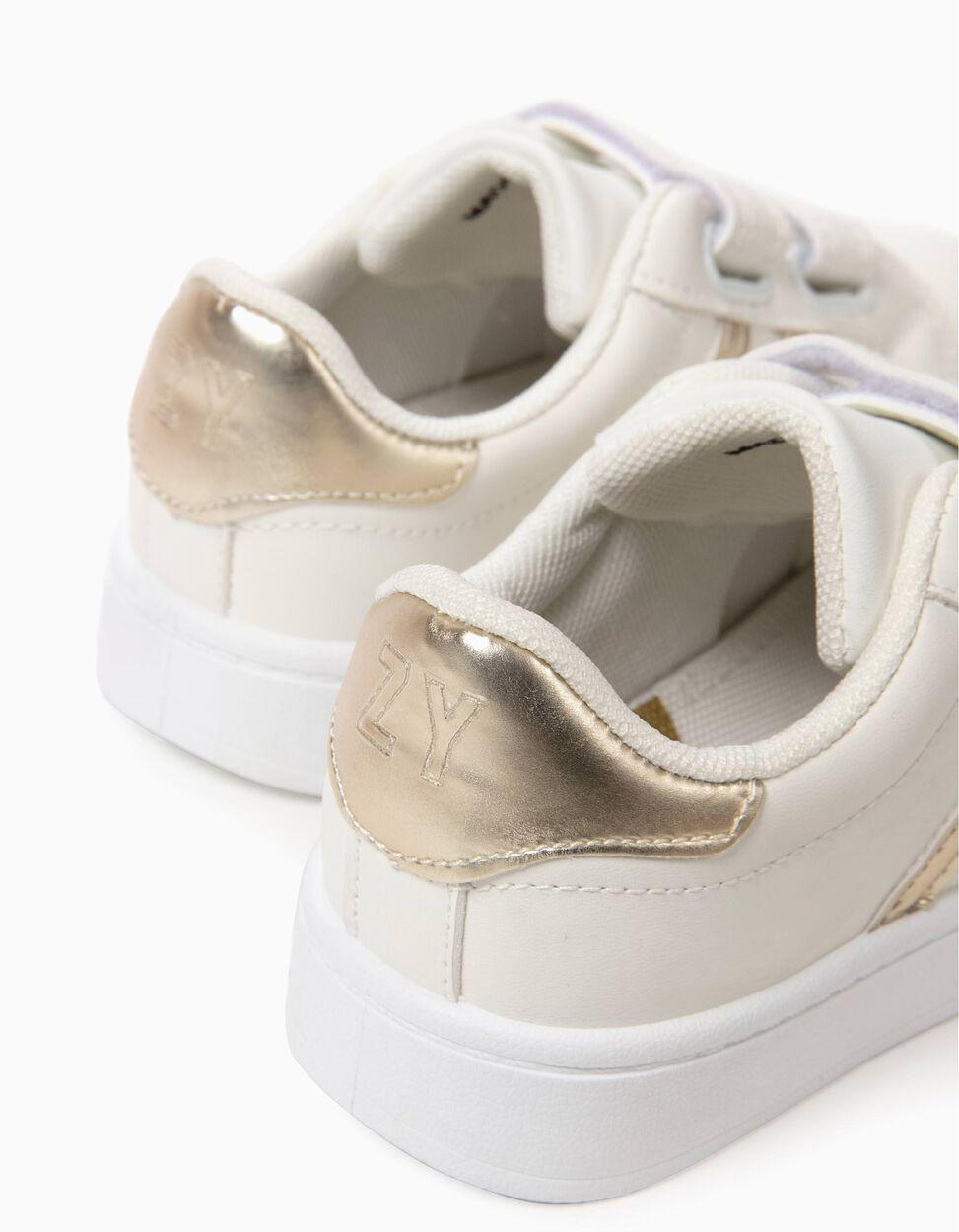 Zapatillas con Cierre Autoadherente Blancas y Doradas