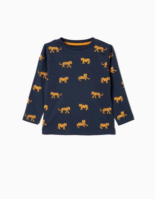 Camiseta de Manga Larga para Bebé Niño 'Tigers', Azul Oscura